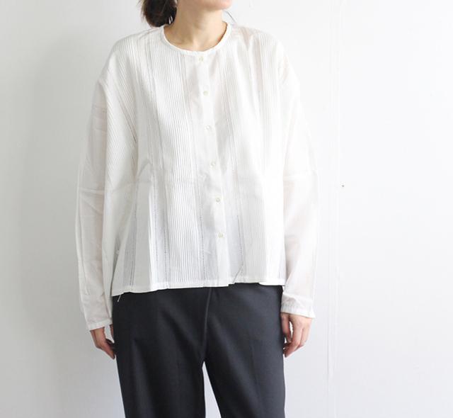 mizuiro-ind ミズイロインド ピンタックノーカラーワイドシャツ  1-239580