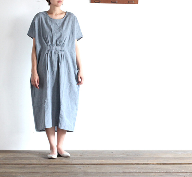 evam eva  エヴァムエヴァ chambray dolman one-piece