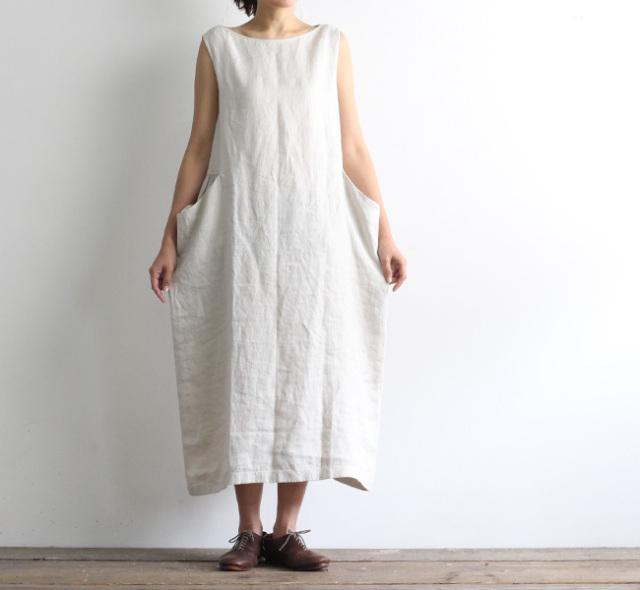 evam eva  エヴァムエヴァ リネンスリーブレスワンピース linen sleeveless one-piece E211T104