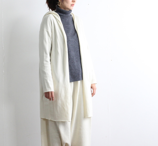 evam eva  エヴァムエヴァ press wool hooded coat E183K113