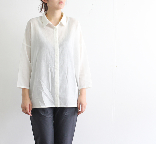 evam eva  エヴァムエヴァ back gather square shirt tunic E191T194