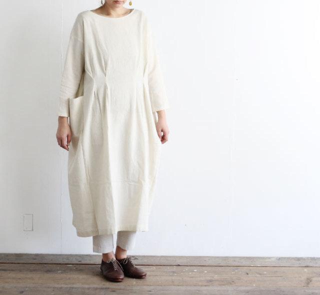 evam eva  エヴァムエヴァ  コットンリネンドロップポケットワンピース cotton linen drop pocket one-piece E201T062