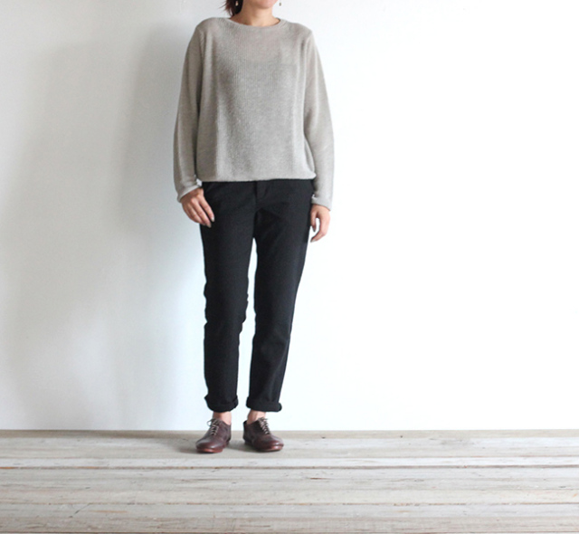 evam eva  エヴァムエヴァ cotton silk narrow pants