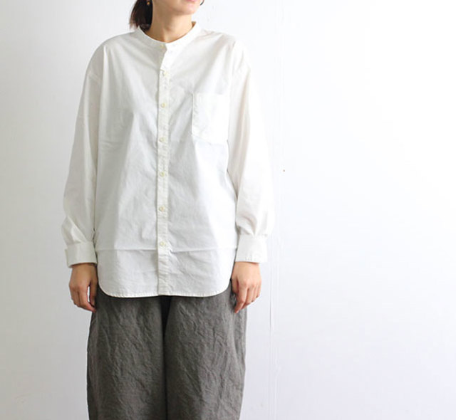 HARVESTY ハーベスティ  BAND COLLAR SHIRTS TRAVEL CLOTH バンドカラーシャツ トラベルクロス  A31901