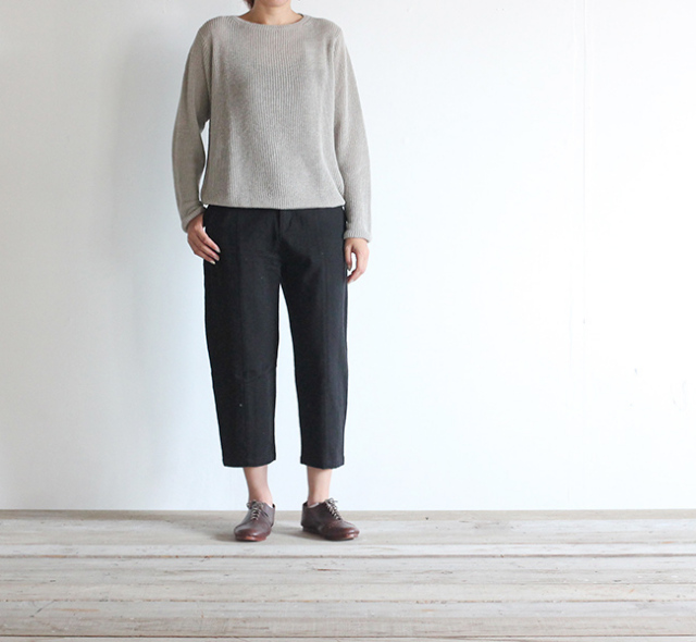 evam eva  エヴァムエヴァ cotton silk cropped pants