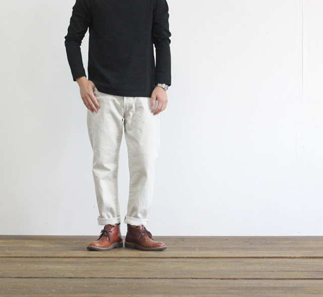 ordinary fits オーディナリーフィッツ 5POCKET ANKLE DENIM ONE WASH WHITE アンクルデニム ホワイト
