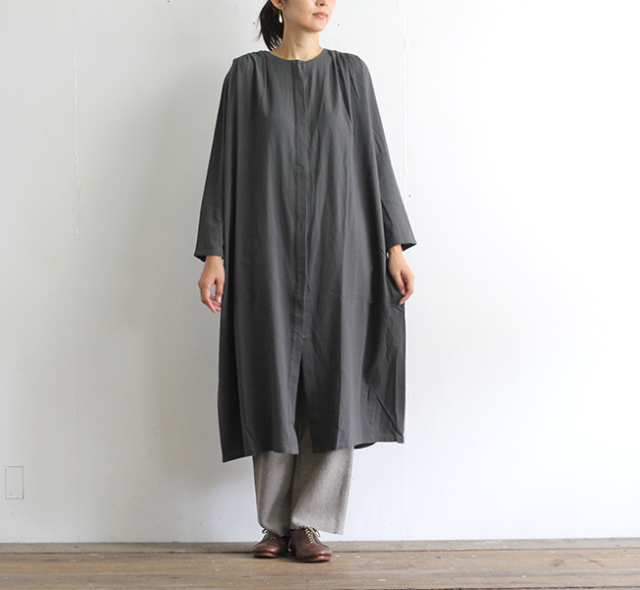 evam eva  エヴァムエヴァ タックシャツワンピース tuck shirts one-piece E203T045