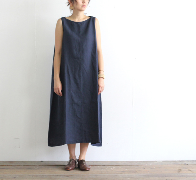 evam eva  エヴァムエヴァ linen sleeveless one-piece E191T218
