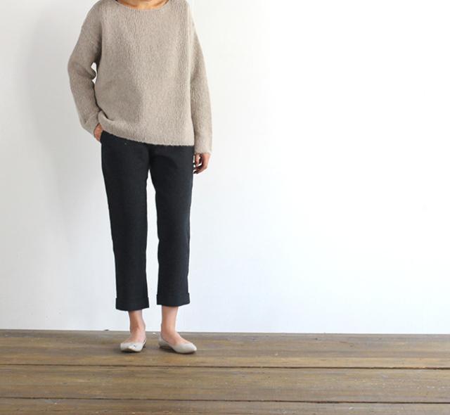 evam eva  エヴァムエヴァ wool turn back pants