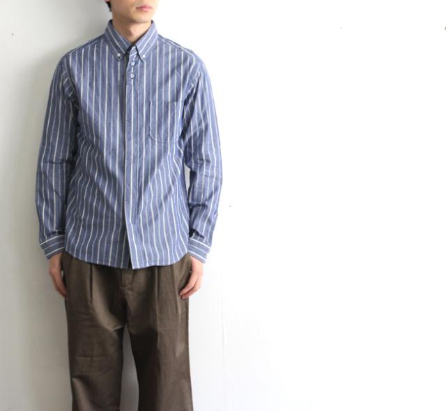 nisica ニシカ  ボタンダウンシャツ ブルーストライプ NIS-906