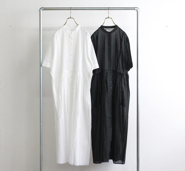 SOIL ソイル バンドカラードレス NSL21002 SUPER FINE VOILE PLANE BANDED COLLAR PINTUCK DRESS