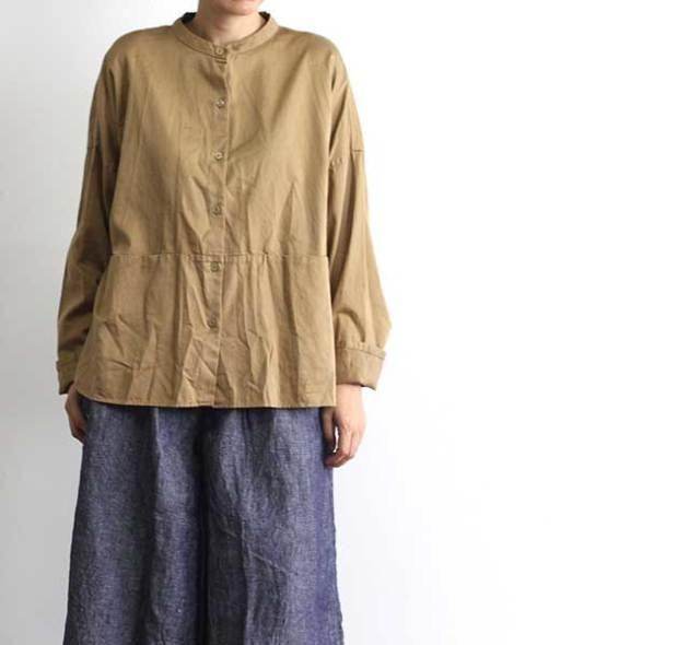 SALE30%OFF Veritecoeur ヴェリテクール ST-046 ノーカラー切替ポケットシャツ