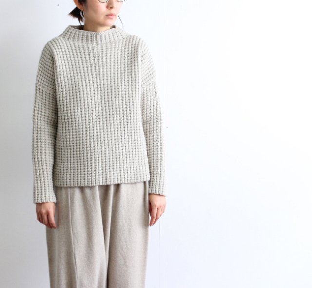 evam eva  エヴァムエヴァ wool aze high necked pullover E193K156