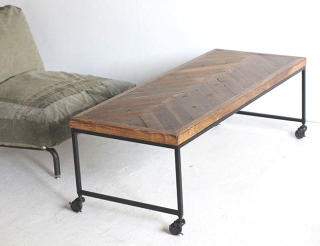 ONE LITTLE DESIGN  /Herringbone Old cedar Low Table ヘリンボーン古材ローテーブル