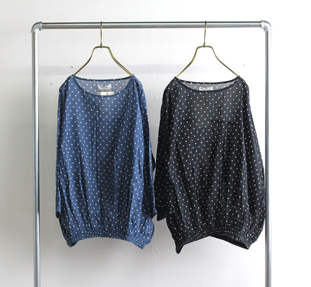 SOIL ソイル ギャザースモック NSL21022 COTTON VOILE DOT PRINT GATHERED SMOCK