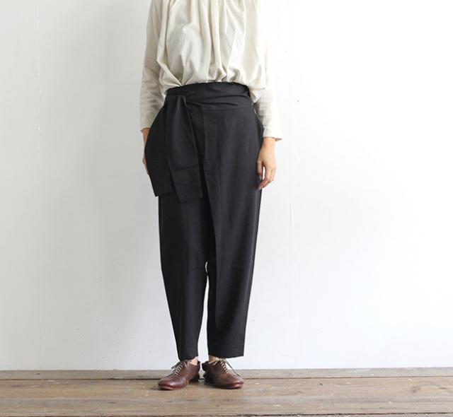 evam eva  エヴァムエヴァ コットンシルクラップパンツ cotton silk wrap pants E203T052