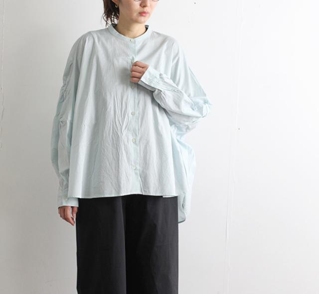 mizuiro-ind  ミズイロインド スタンドカラーギャザーシャツ 1-238158