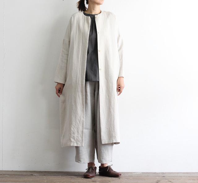 evam eva  エヴァムエヴァ レイジングリネンコート raising linen coat V211T918