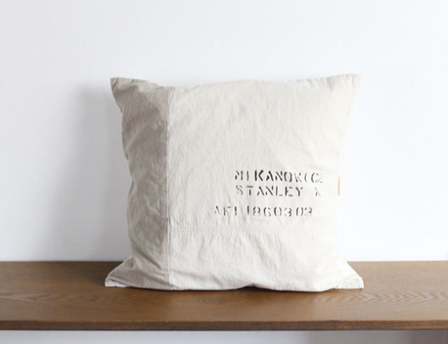 BasShu Cushion Cover Stencil WH クッションカバー ステンシル ホワイト