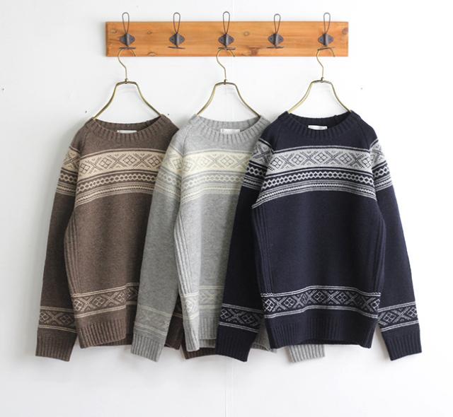 soglia  LANDNOAH Sweater FAIR ISLE ソリア レディース エルボーパッチセーター フェアアイル