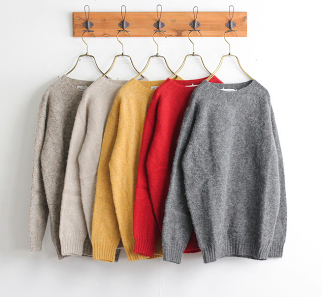 JOHN TULLOCH NJT1051 WOOL PLAIN CREW NECK SADDLE SHOULDER P/OV クルーネックプルオーバーニット by NARUMI