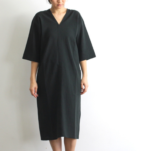 evam eva  エヴァムエヴァ cotton linen one-piece