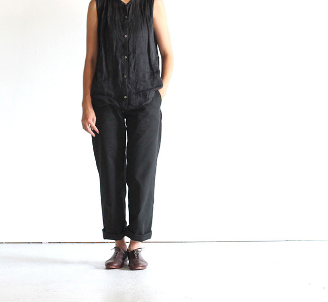 evam eva  エヴァムエヴァ cotton hemp straight pants