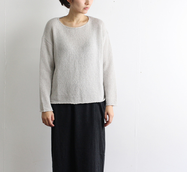 evam eva  エヴァムエヴァ ladder lily yarn pullover  E183K148