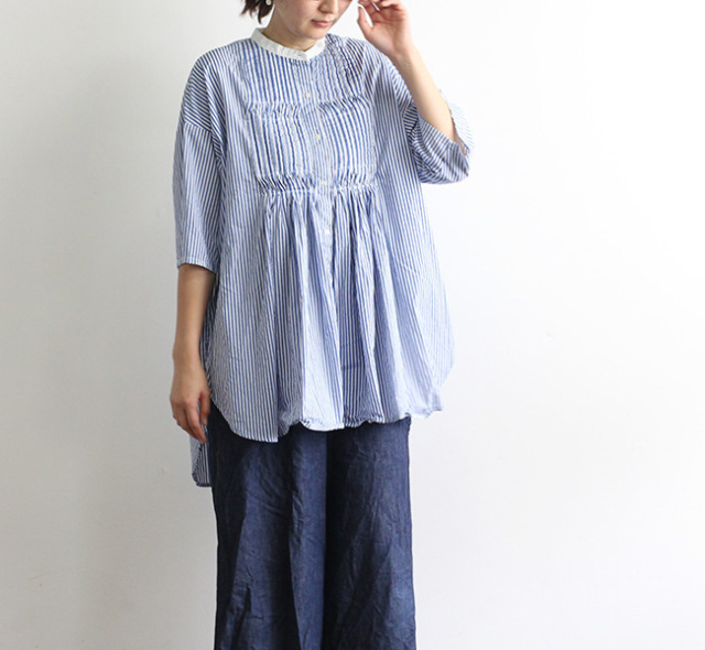 mizuiro ind  ミズイロインド ピンタックスタンドカラーワイドシャツ  2-239707