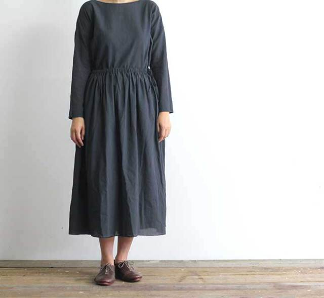 evam eva  エヴァムエヴァ cotton georgette gather skirt