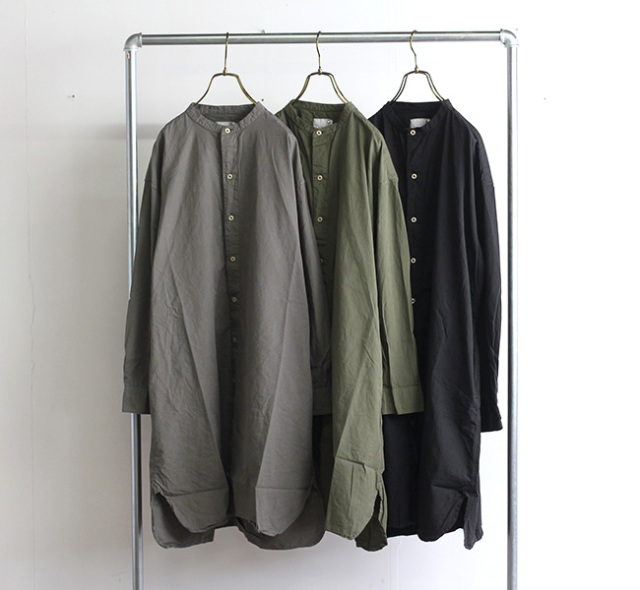 ARMEN アーメン バンドカラーロングシャツ INAM1902PD 40'S POPLIN BANDED COLLAR LONG SHIRT