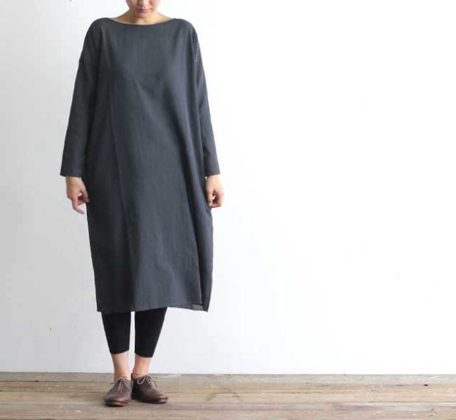 evam eva  エヴァムエヴァ cotton georgette square one-piece