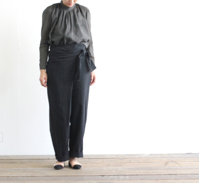 evam eva  エヴァムエヴァ cotton wrap pants  E191T114