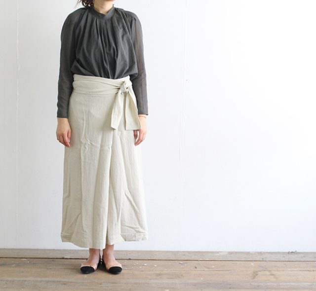 evam eva  エヴァムエヴァ cotton wrap skirt E191T115