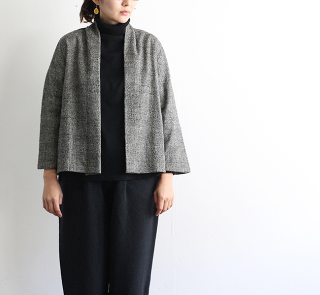 evam eva  エヴァムエヴァ glen check cardigan  E183T173