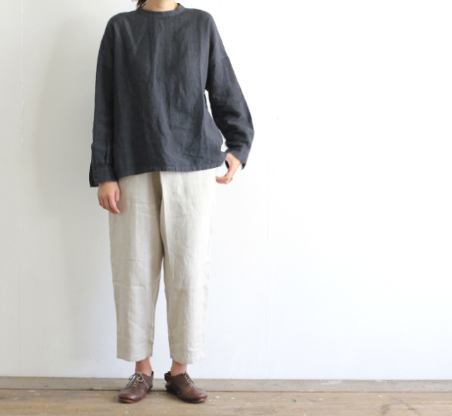 evam eva  エヴァムエヴァ raising linen wrap pants E193T100
