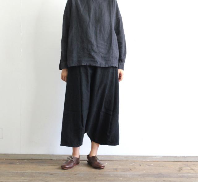 evam eva  エヴァムエヴァ raising linen sarrouel pants E193T102