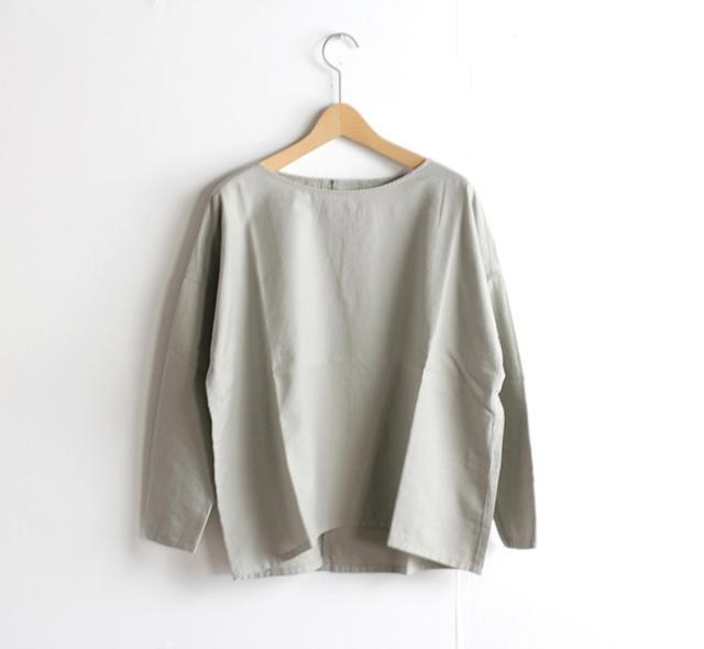 evam eva  エヴァムエヴァ cotton cashmere square pullover