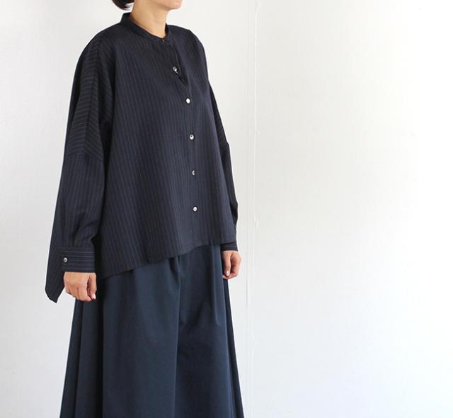 mizuiro-ind  ミズイロインド スタンドカラーワイドシャツ
