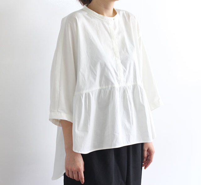 SALE30%OFF mizuiro-ind  ミズイロインド バンドカラードルマンワイドシャツ 2-239175