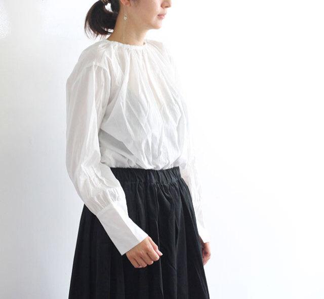 mizuiro-ind  ミズイロインド ネックギャザーフレアシャツ 3-239358