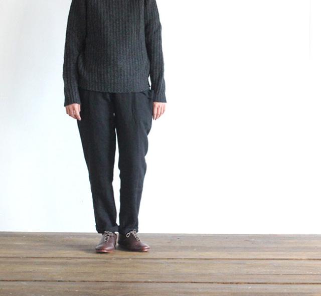 evam eva  エヴァムエヴァ raising linen easy pants