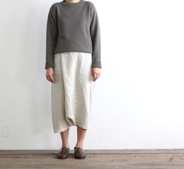 evam eva  エヴァムエヴァ linen twill wrap sarrouel pants E191T024