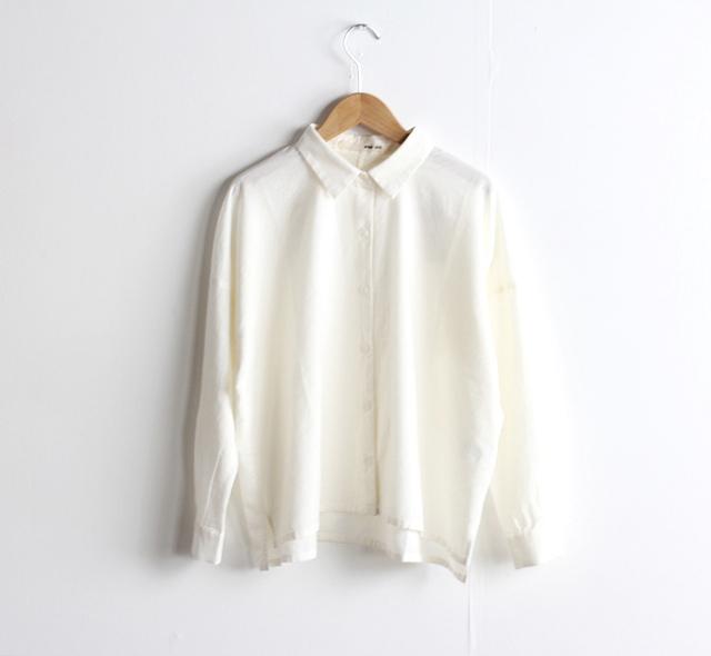 evam eva  エヴァムエヴァ cotton cashmere square shirt