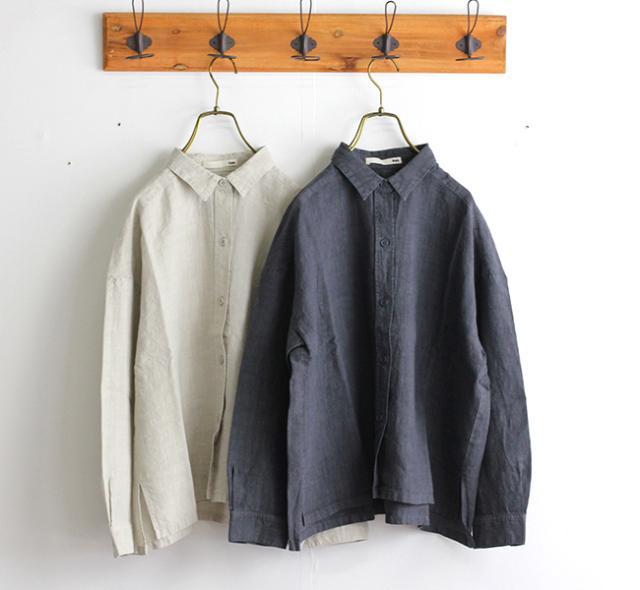 evam eva  エヴァムエヴァ linen oversized shirt E193T036