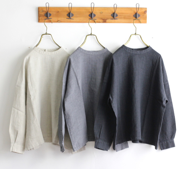 evam eva  エヴァムエヴァ linen stand collar square shirt E193T035