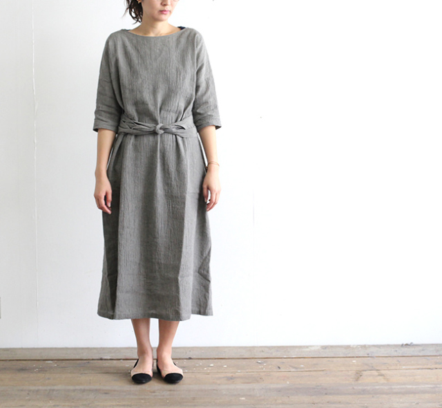 evam eva  エヴァムエヴァ cotton linen one-piece E191T167