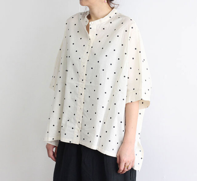 mizuiro-ind  ミズイロインド ドットプリントバンドカラーワイドシャツ 2-239151