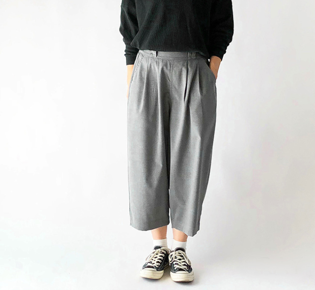 HARVESTY ハーベスティ T/R WIDE EGG CROPPED PANTS ワイドエッグ クロップドパンツ A21502