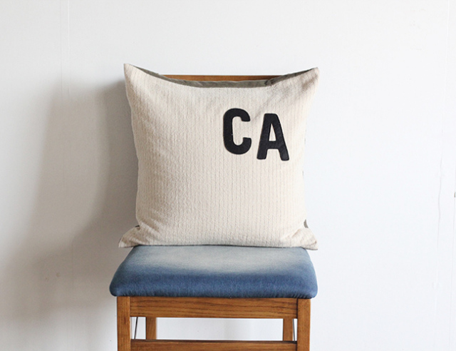 BasShu Cushion Cover CA logo  BEIGE クッションカバー CA ロゴ  ベージュ